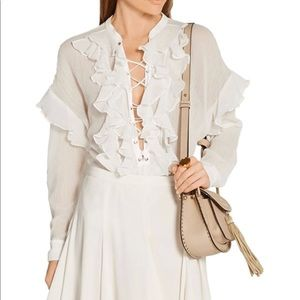 Authentic Chloe white lace up blouse size 38